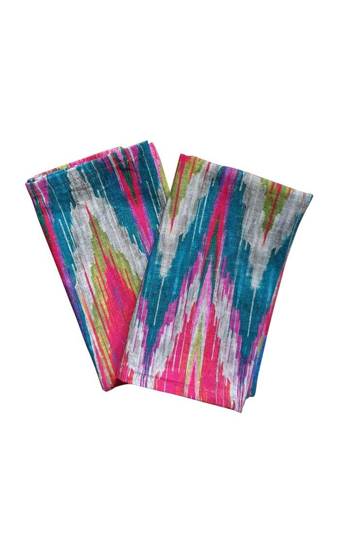 Set Of 4 Ikat Design Printed Napkin