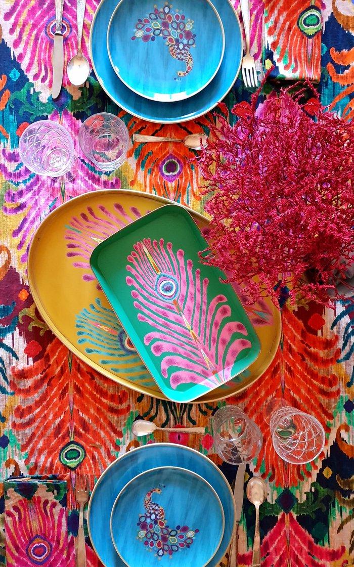 Set Of 4 Peacock Feather Design Printed Napkin