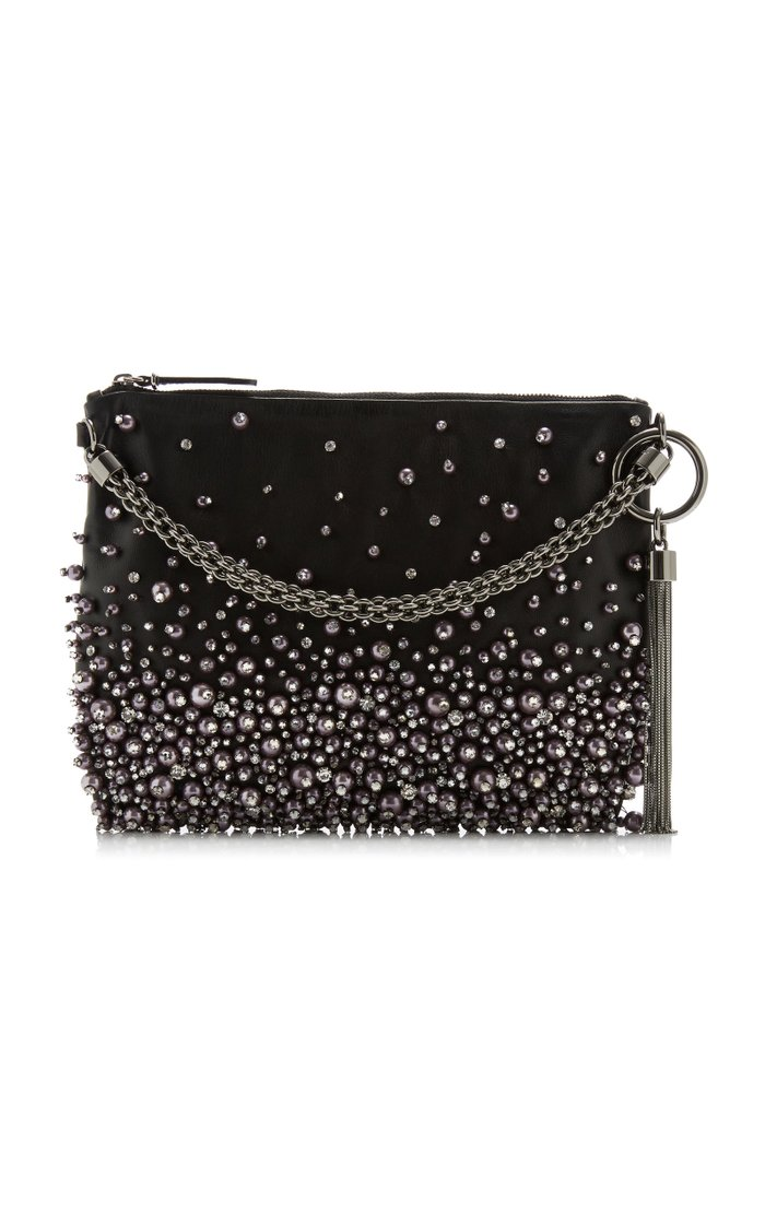 Callie Pearl-Embellished Leather Clutch