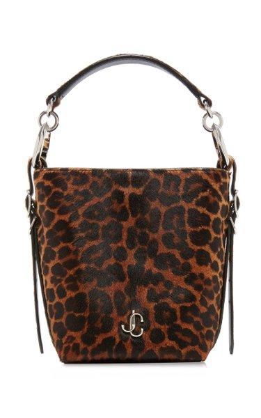 Varenne Leopard-Print Ponyhair Bucket Bag