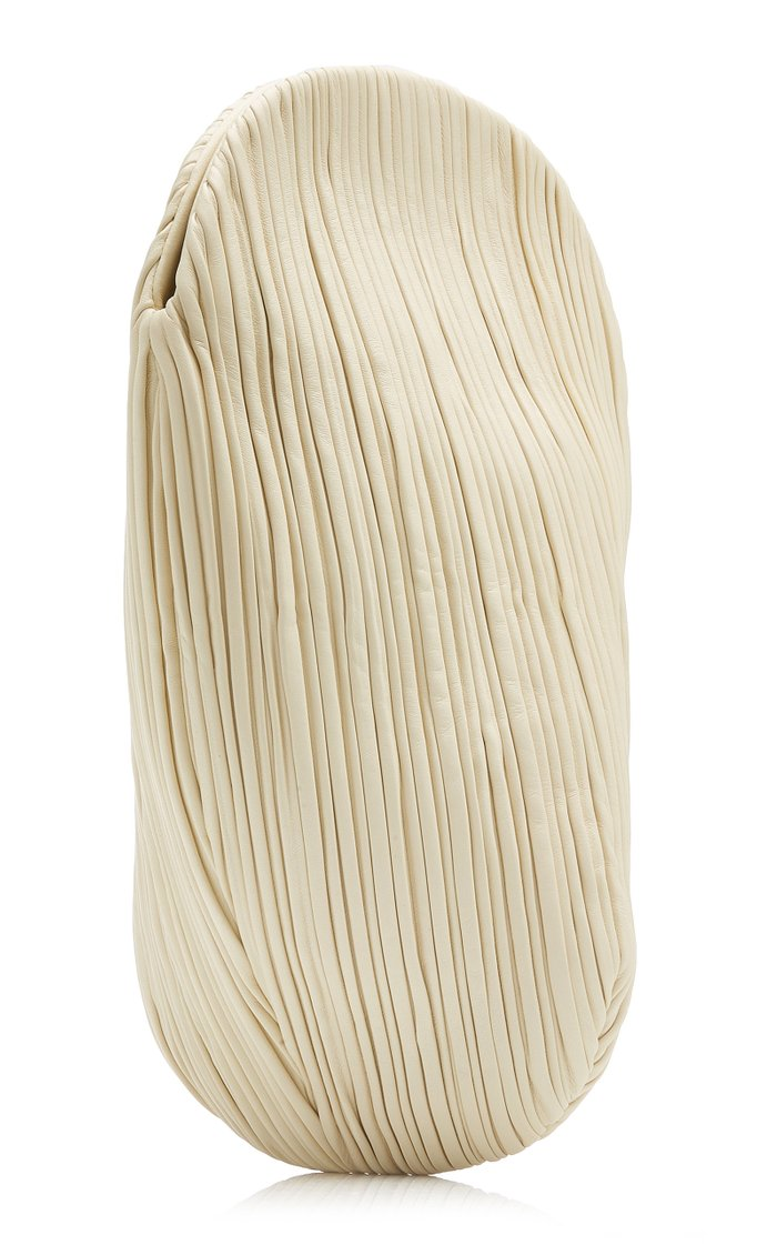 Pluto Pleated Leather Swirl Clutch