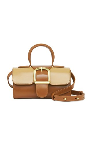 Mini Satchel Two-Tone Leather Top Handle Bag