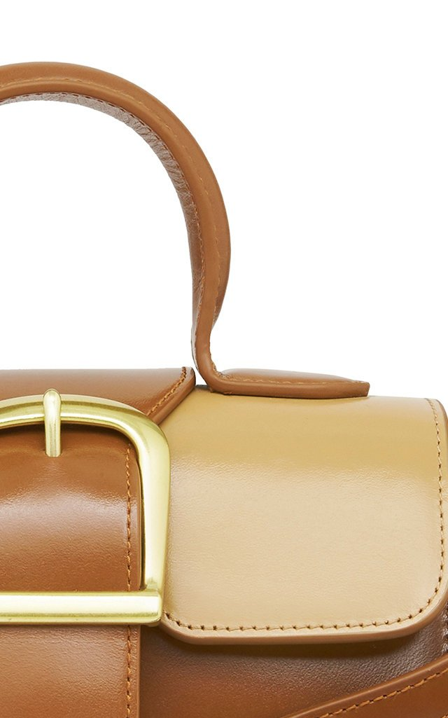 Mini Satchel Two-Tone Leather Top Handle Bag