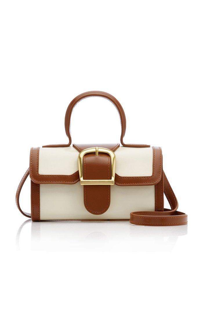 Mini Satchel Contrasting Leather Top Handle Bag