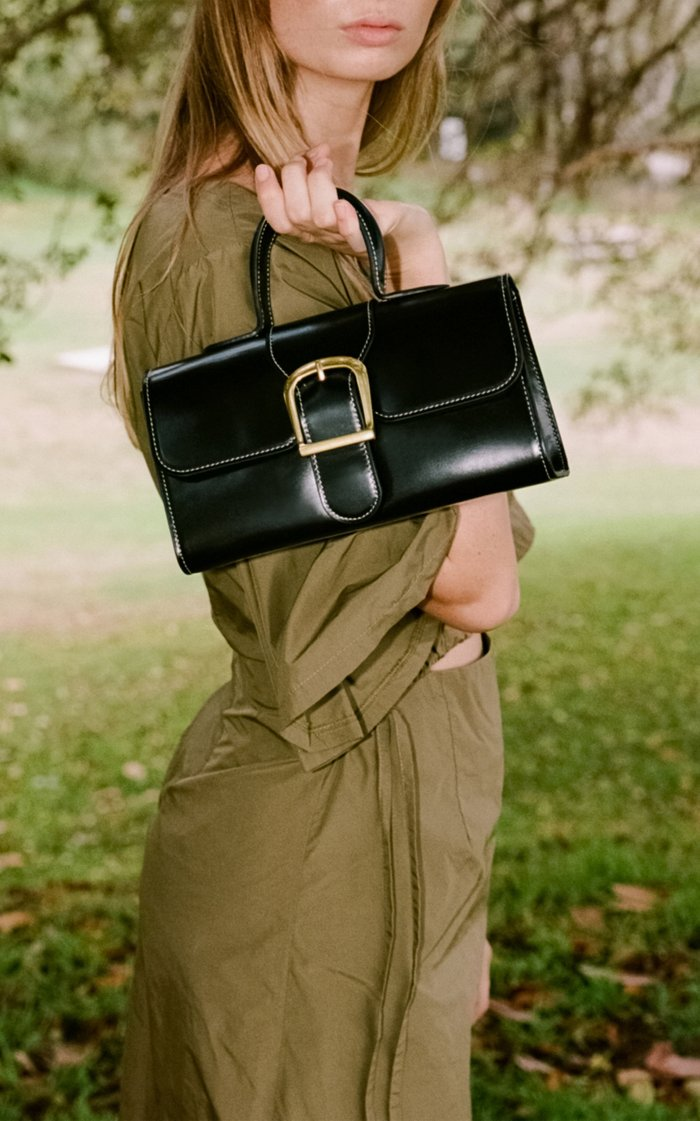 Small Satchel Contrast Stitch Leather Top-Handle Bag