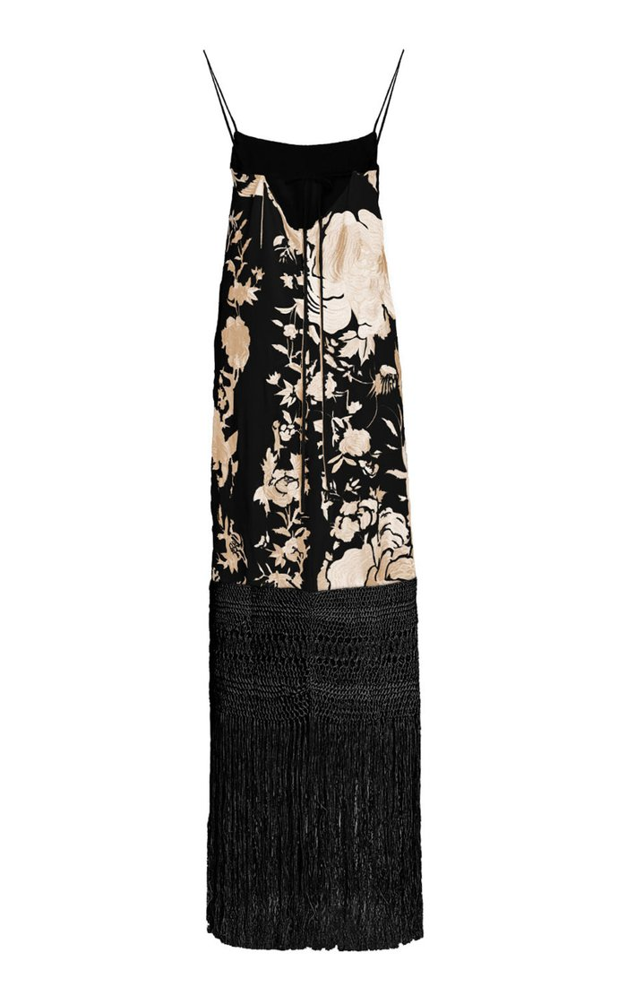 Palm Gold Embroidered Silk Dress - Exclusive