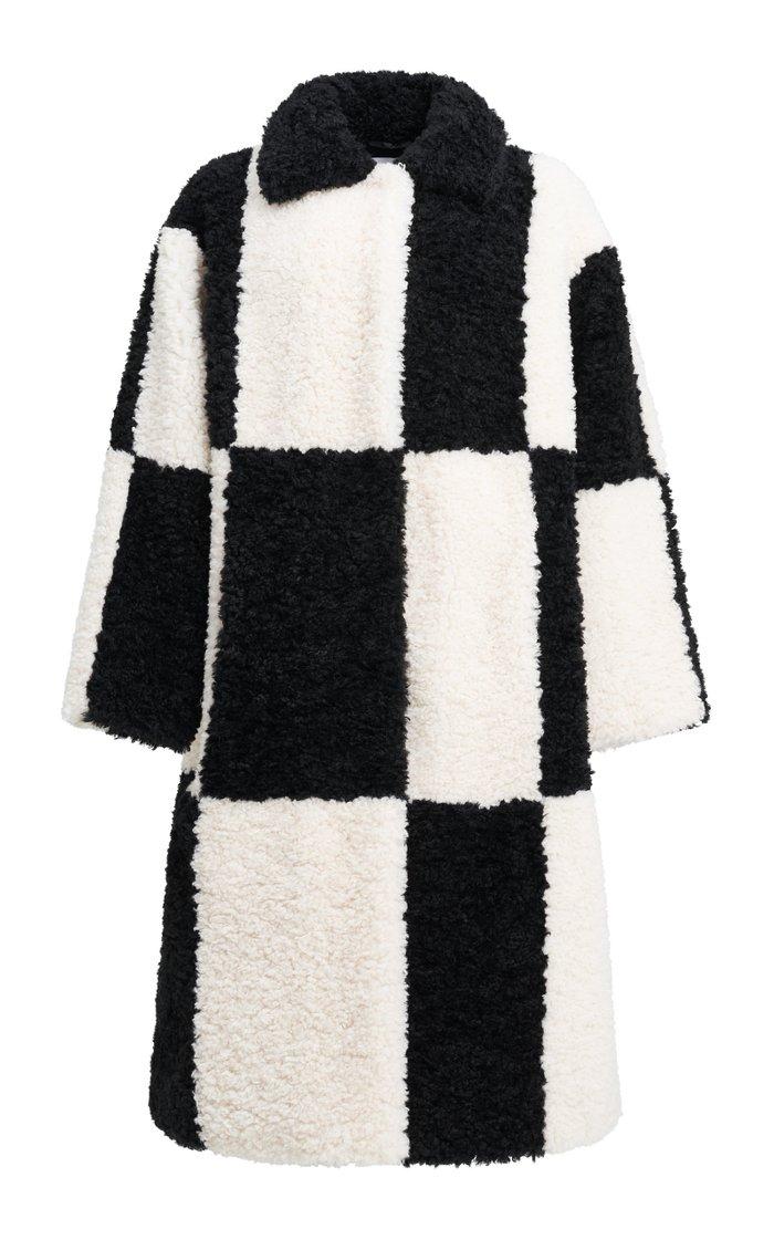 Nikki Checked Faux Fur Coat