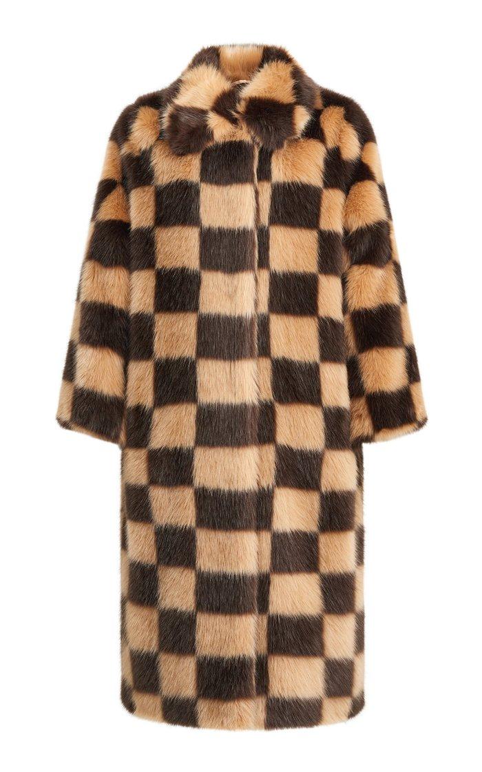 Nino Checked Faux Fur Coat