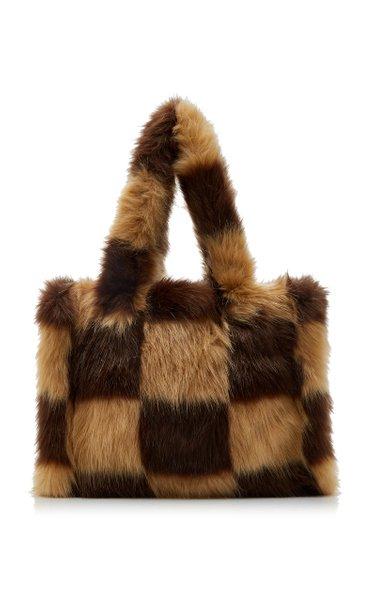 Liz Check-Print Faux Fur Tote