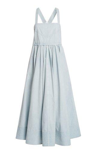 Washed Cotton Midi Apron Dress