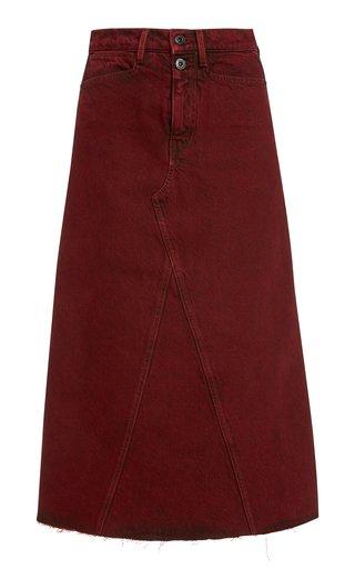 Raw-Edge Denim A-Line Midi Skirt
