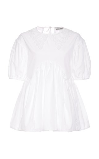 Embroidered Collar Pleated Cotton Blouse