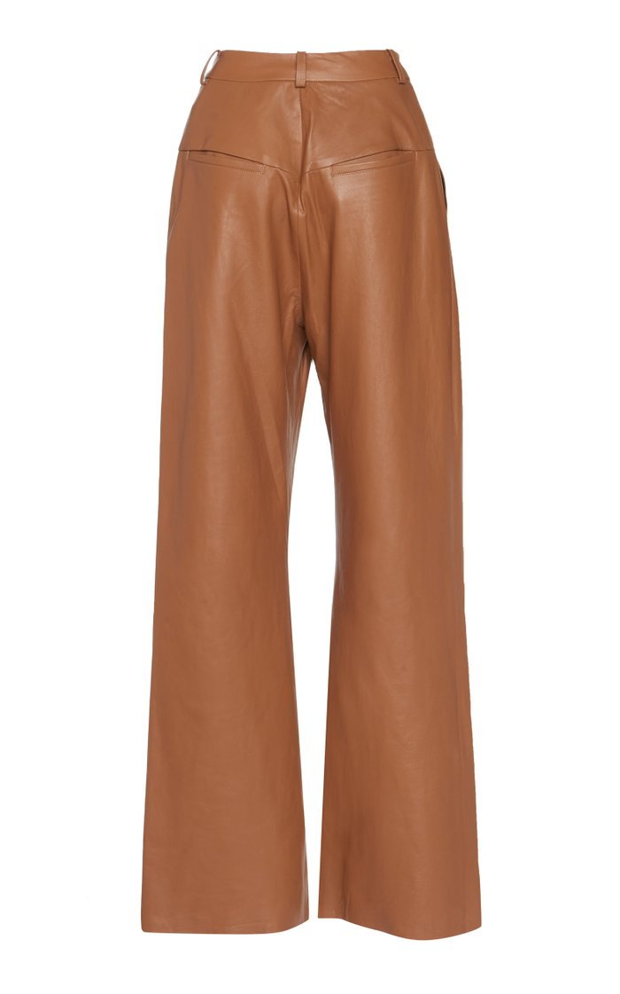 Leather Wide-Leg Pants