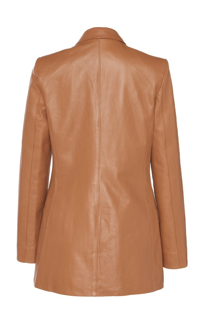 Oversized Double-Breasted Leather Blazer