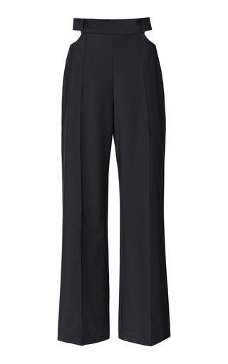 Cutout Wool Wide-Leg Pants