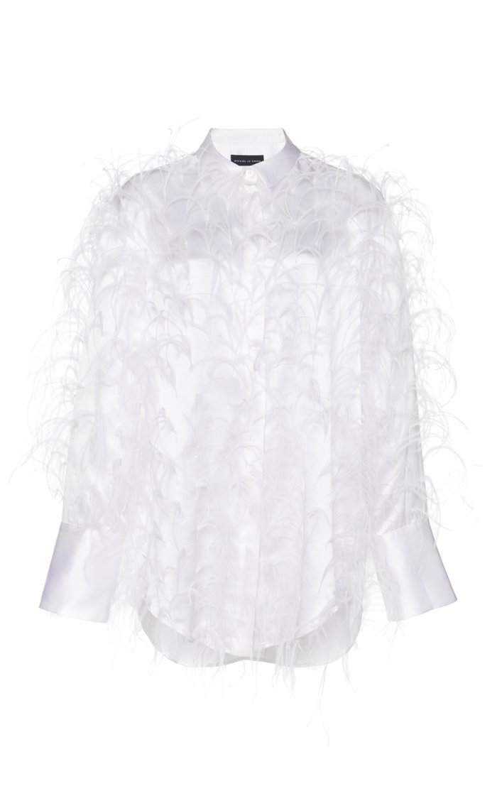 Feather-Embellished Silk-Satin Shirt