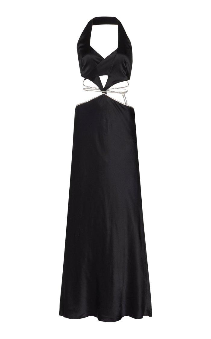 Alexa Cutout Crystal-Embellished Satin Maxi Dress