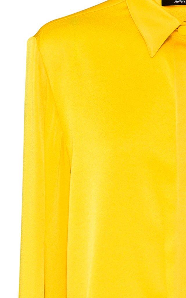 Hensley Satin Crepe Cape-Sleeve Top