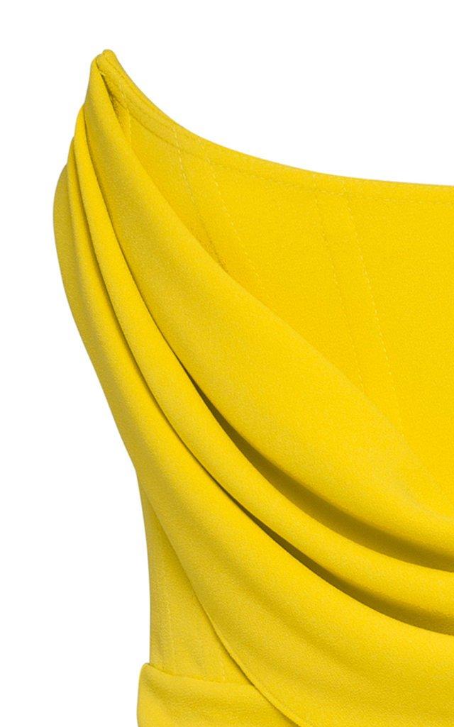 Exclusive Ryland Draped Stretch Crepe Strapless Midi Dress