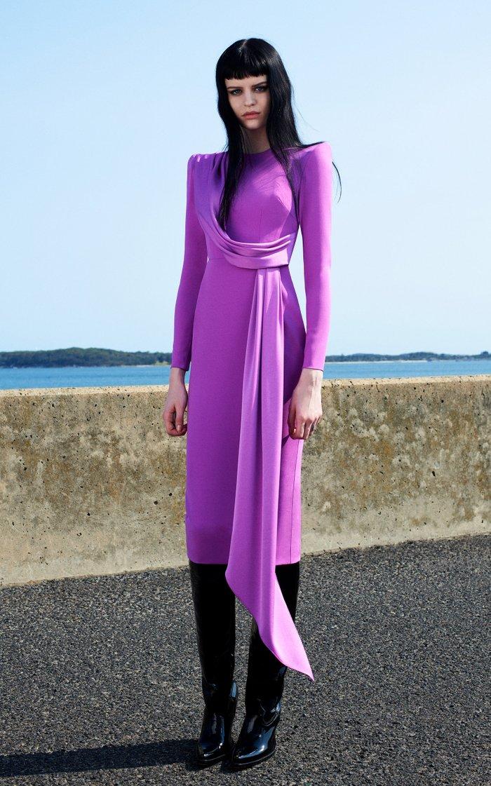 Arden Drape-Detailed Satin Crepe Midi Dress