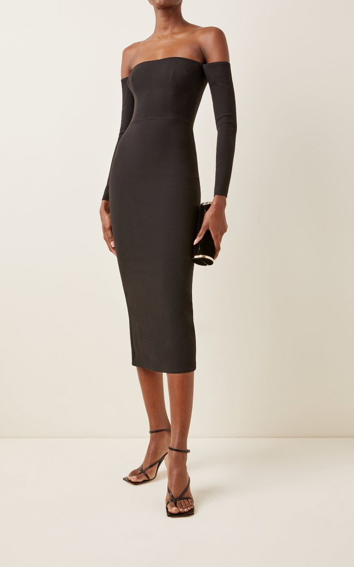 Tate Stretch Crepe Off-The-Shoulder Midi Dress