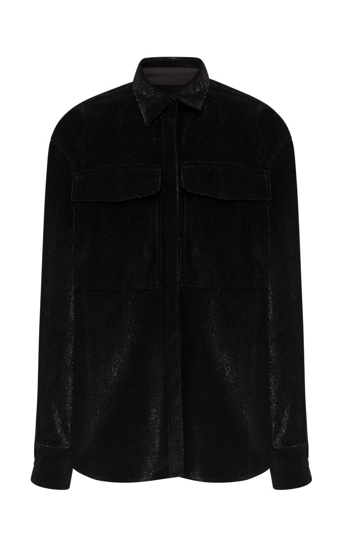 Zane Glittered Cotton-Blend Corduroy Oversized Shirt