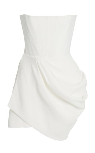 Exclusive Buckley Draped Stretch Crepe Strapless Mini Dress