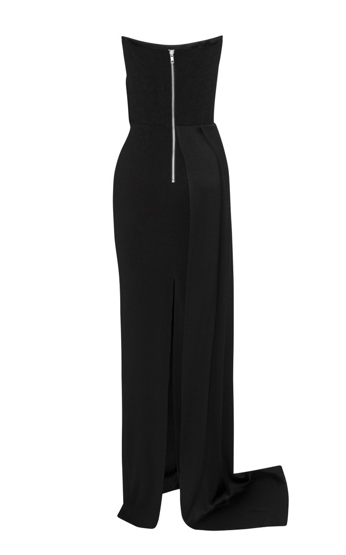 Kirby Drape-Detailed Satin Crepe Strapless Gown