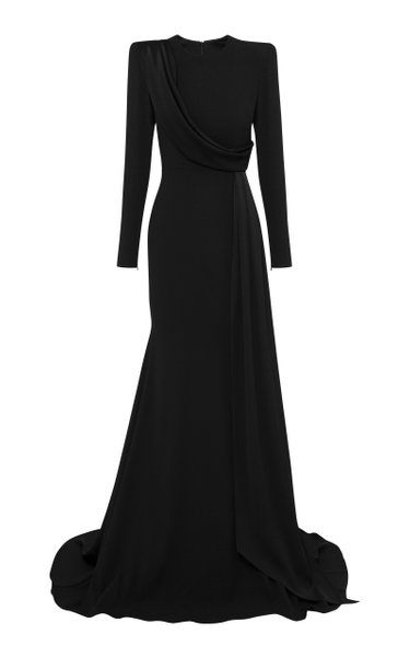 Maxwell Drape-Detailed Satin Crepe Gown