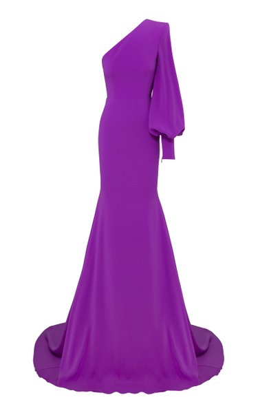 Marin Satin Crepe One-Shoulder Gown