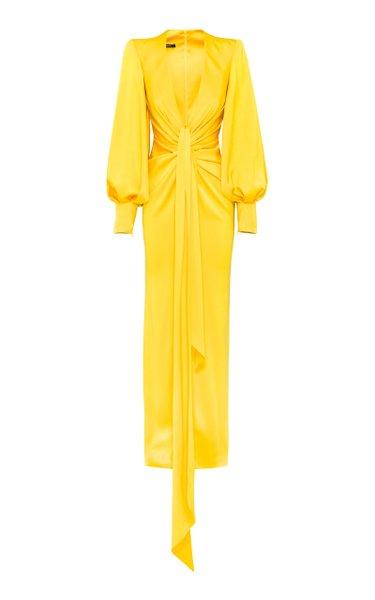 Dane Drape-Detailed Satin Crepe Gown