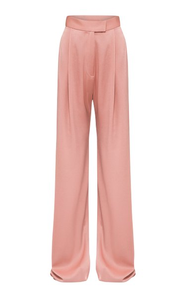 Hartley Satin Crepe Pleated Wide-Leg Trousers