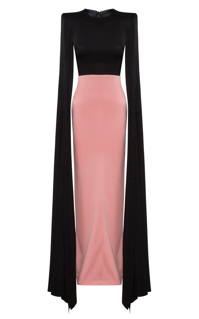 Julian Two-Tone Satin Crepe Cape-Sleeve Gown