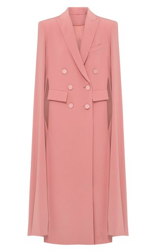 Marden Satin Crepe Double-Breasted Cape Coat