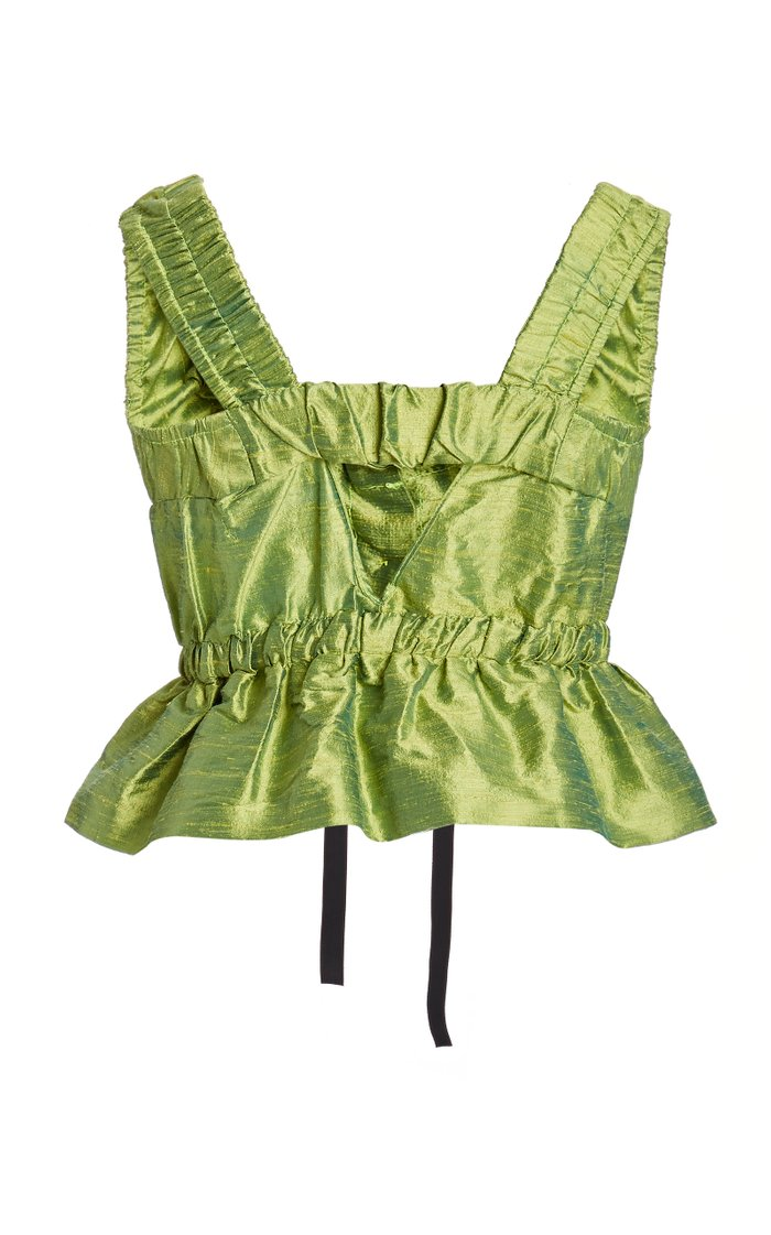 Ilaria Ruched Tie-Front Silk Top