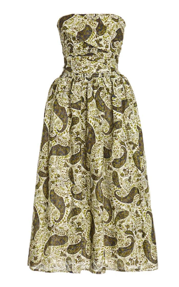 Gia Printed Cotton-Silk Strapless Dress