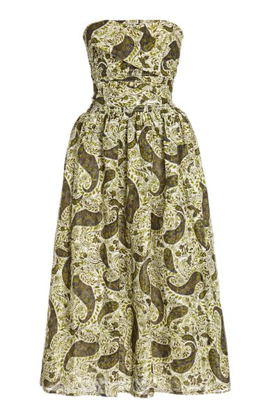 Gia Printed Cotton-Silk Strapless Dress