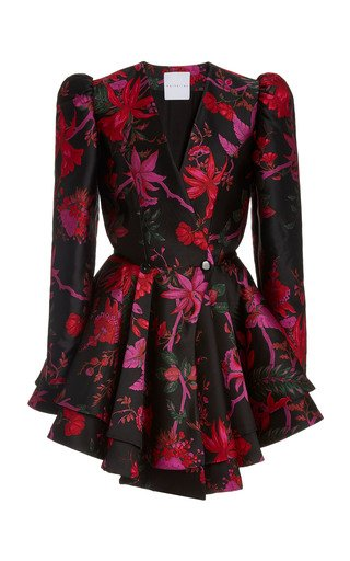 Etta Silk-Brocade Mini Dress