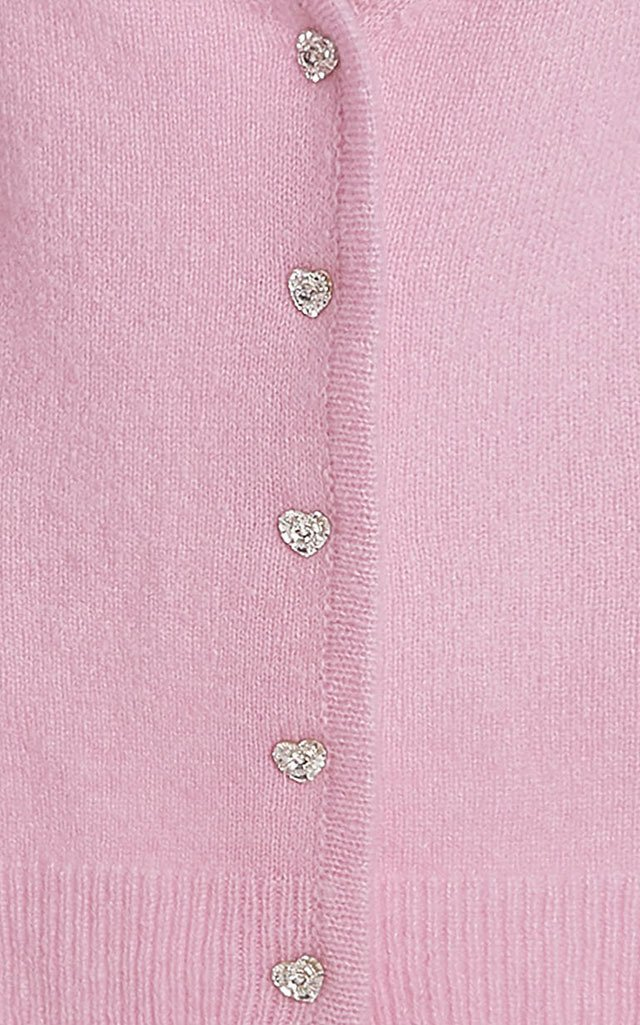 Crystal Heart Cashmere-Silk Cardigan