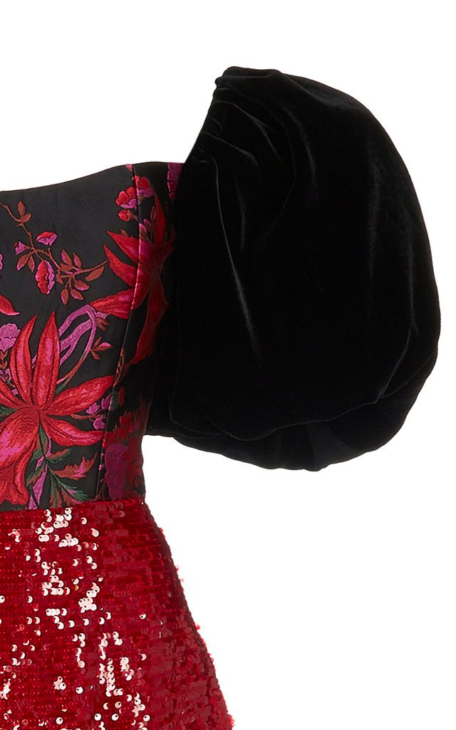 Marguerite Puff-Sleeve Sequined Brocade Dress