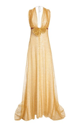 Crystal-Embellished Embroidered Chiffon Gown