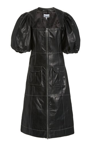 Mutton-Sleeve Leather Midi Dress