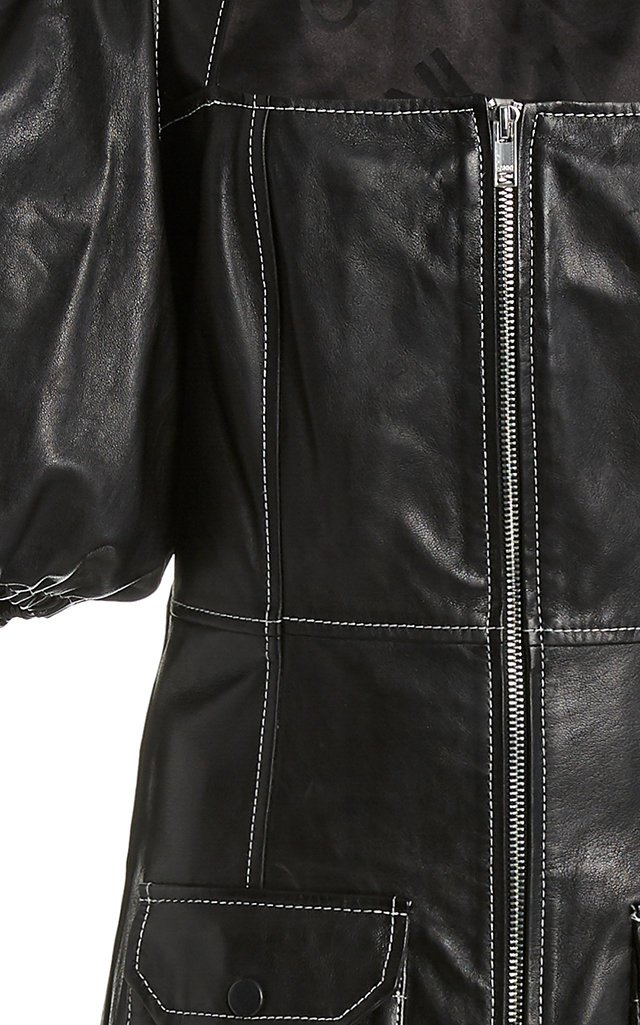 Mutton-Sleeve Leather Midi Dress