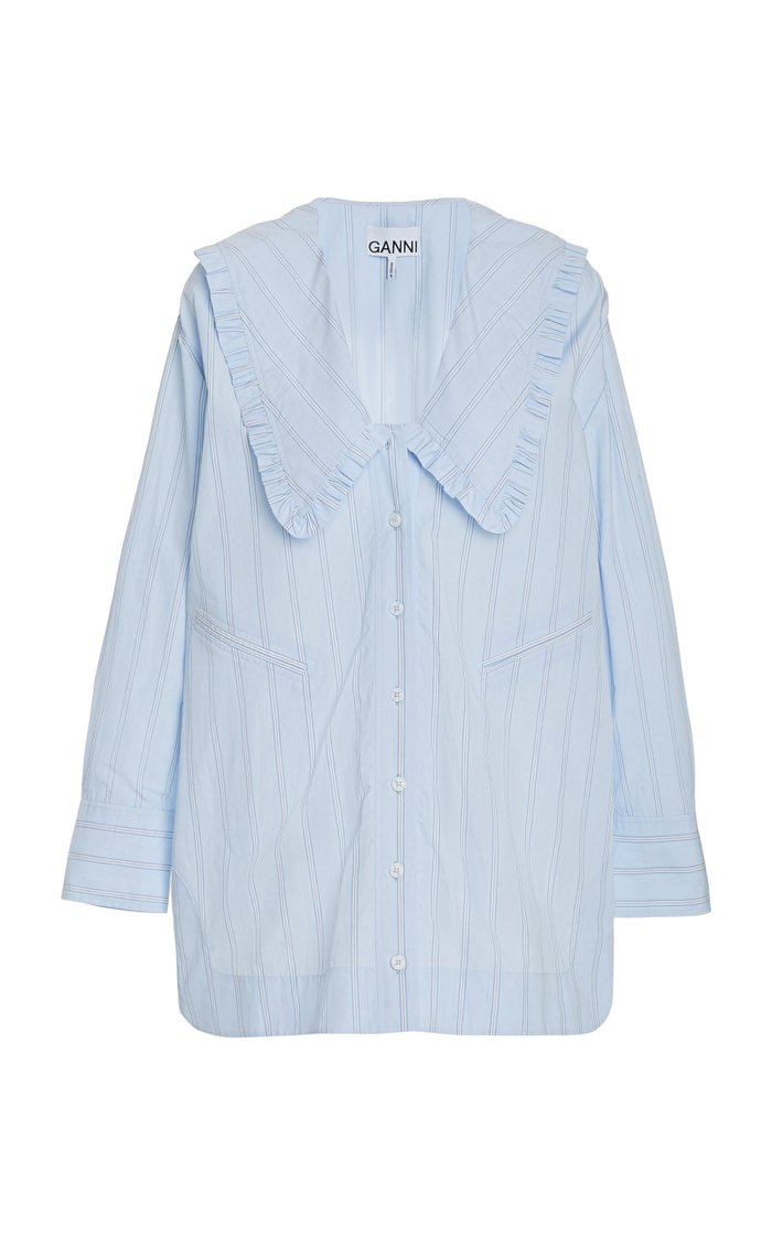 Frilled Striped Organic Cotton Shirt