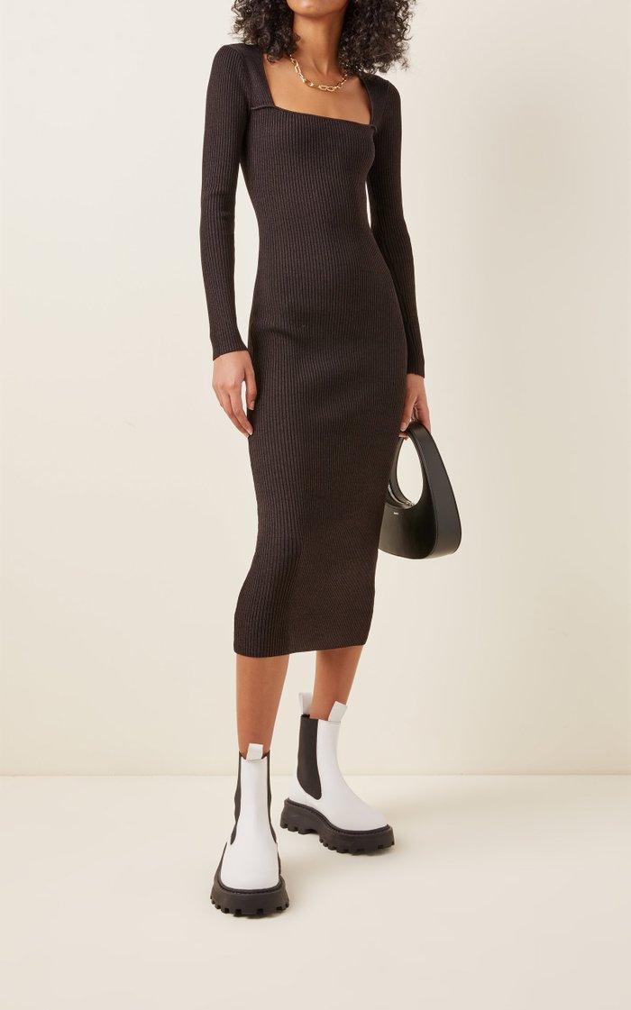 Square-Neck Melange-Knit Midi Dress