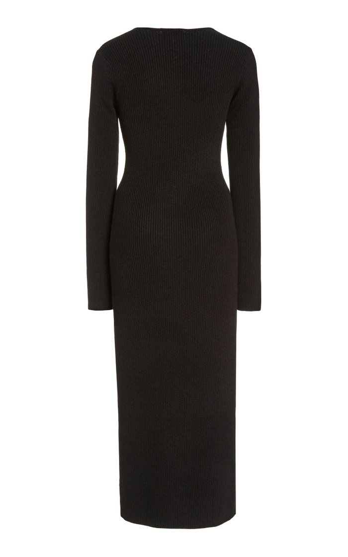 Square-Neck Melange-Knit Midi Dress