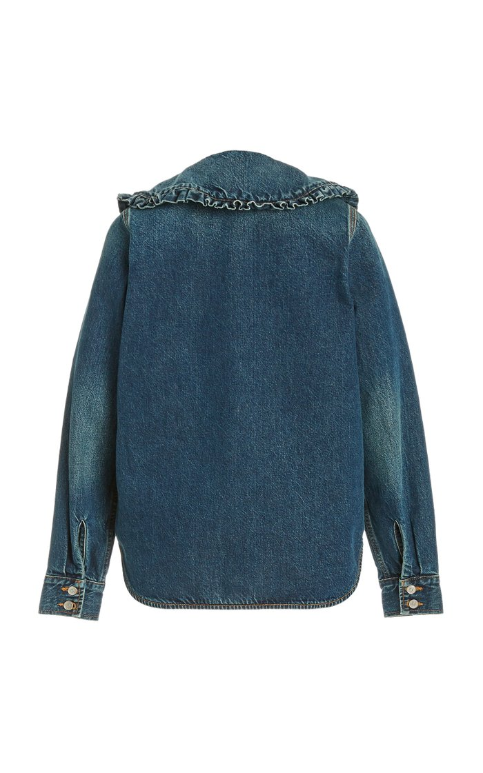 Frilled-Trim Denim Shirt