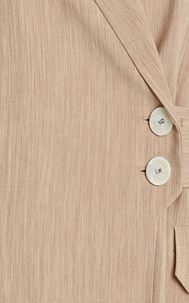 Wrap-Front Twill Suiting Jacket