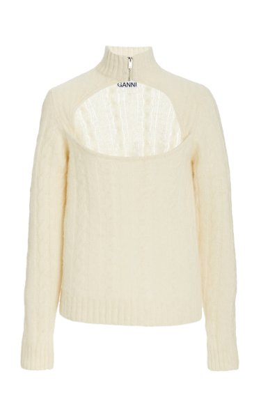 Cut-Out Wool-Blend Knit Top
