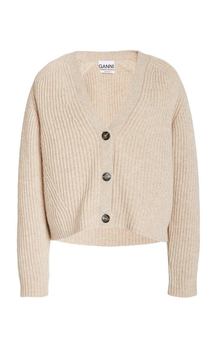 Cropped Wool-Blend Cardigan Top